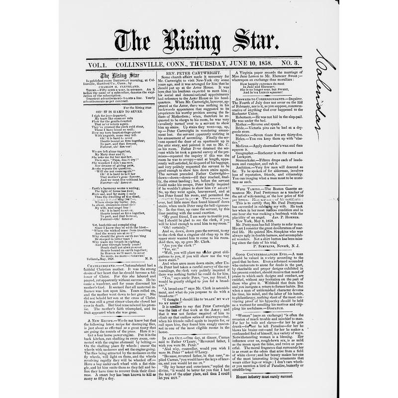 Rising star (Collinsville, Conn.), 1858