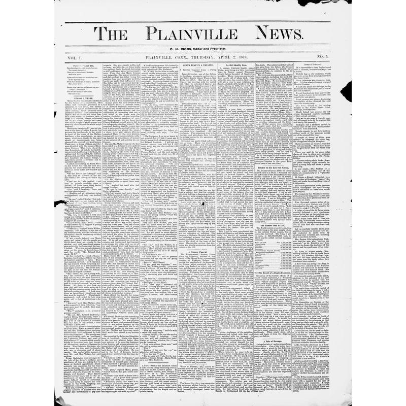 Plainville news (Plainville, Conn. : 1874), 1874-1877