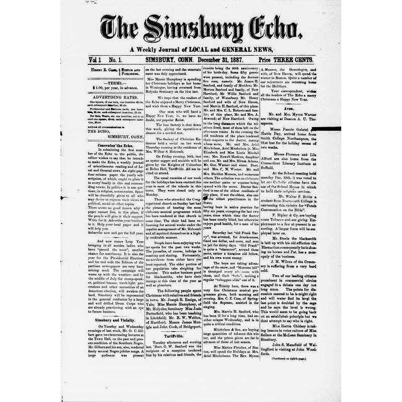 Simsbury echo, 1887-1888